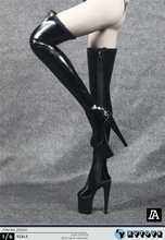 1/6 Scale Super High Heel White/Red/Black Long Zipper Boots Shoes Model ZYTOYS ZY1014 for Female Body