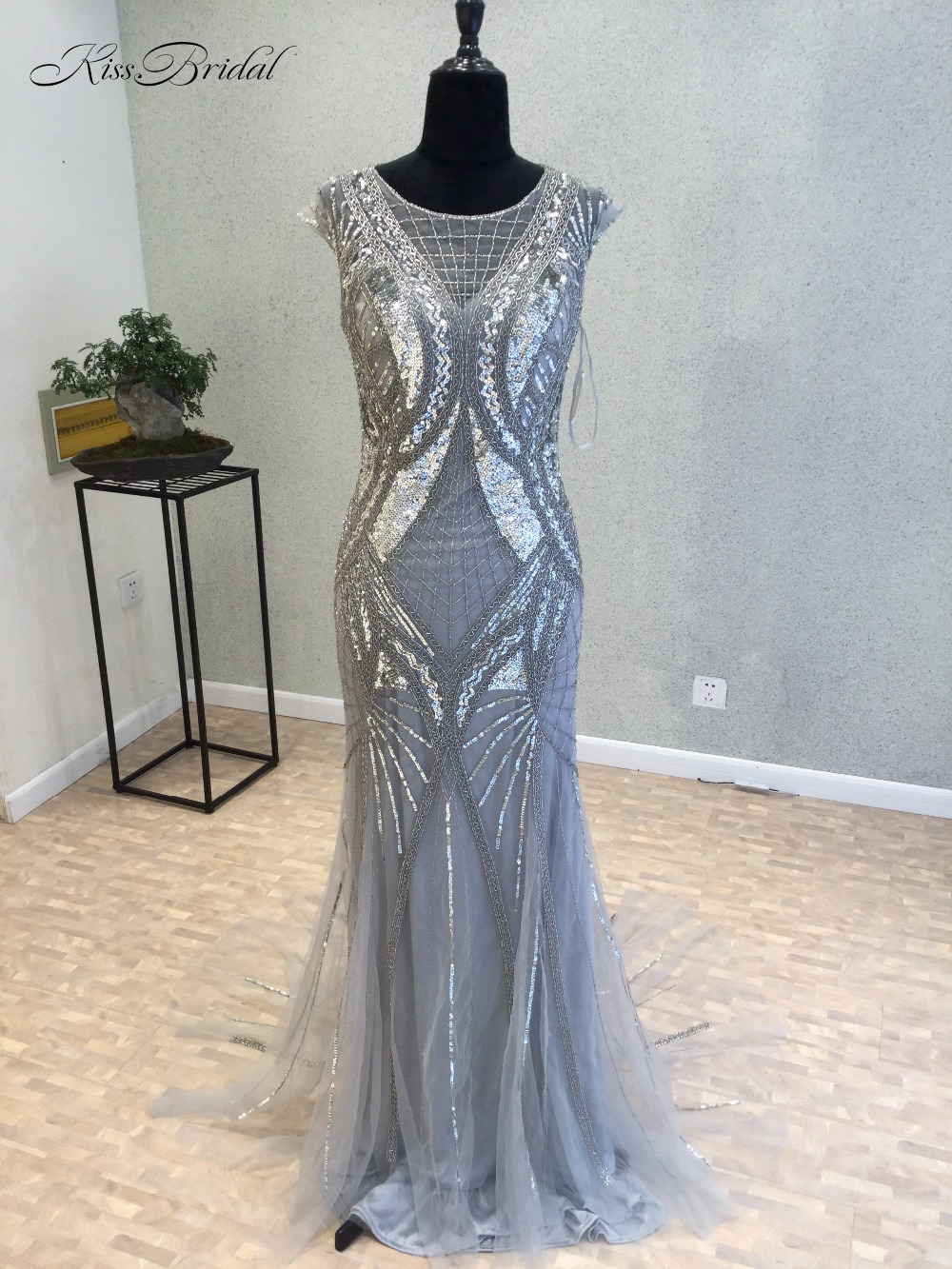 New Sexy Long   Evening     Dress   2018 O-Neck Cap Sleeve Floor Length Beading Tulle Mermaid Prom   Dresses   vestido longo de festa