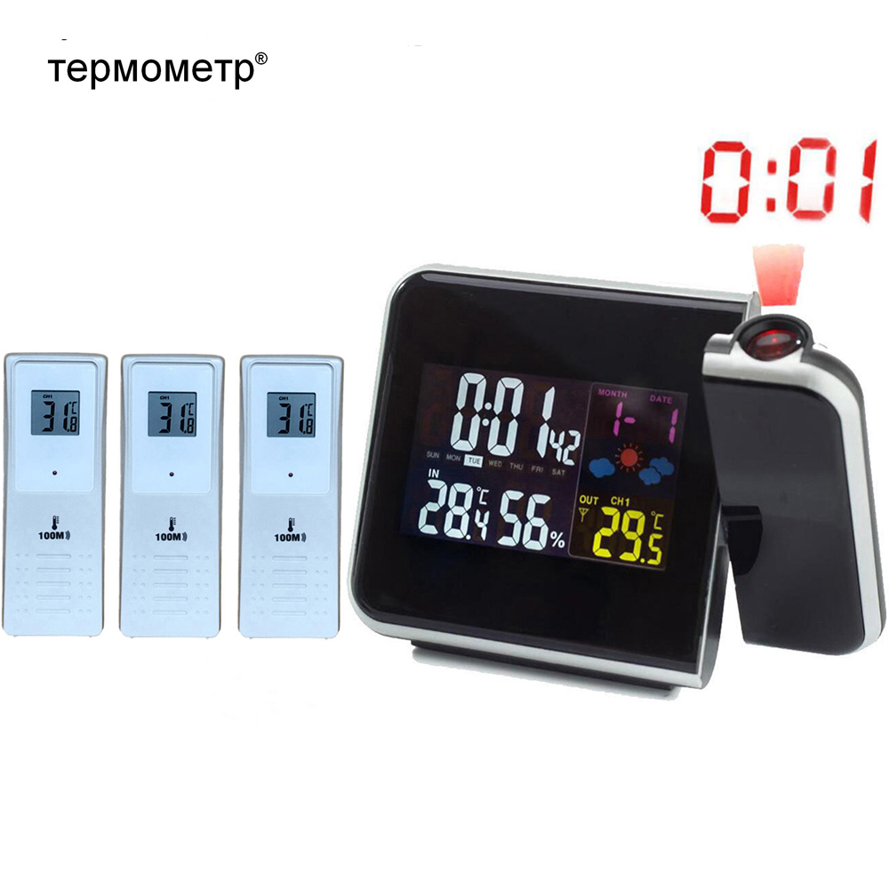 Weather Station Alarm Clock with Time Projection Thermometer Humidity Hygrometer 3 Wireless Outdoor Temperature Transmitters