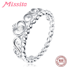 MISSITA 100% 925 Sterling Silver Classic Clear Crystal Crown Rings For Women Girls Gift Brand Jewelry Engagement anillos mujer
