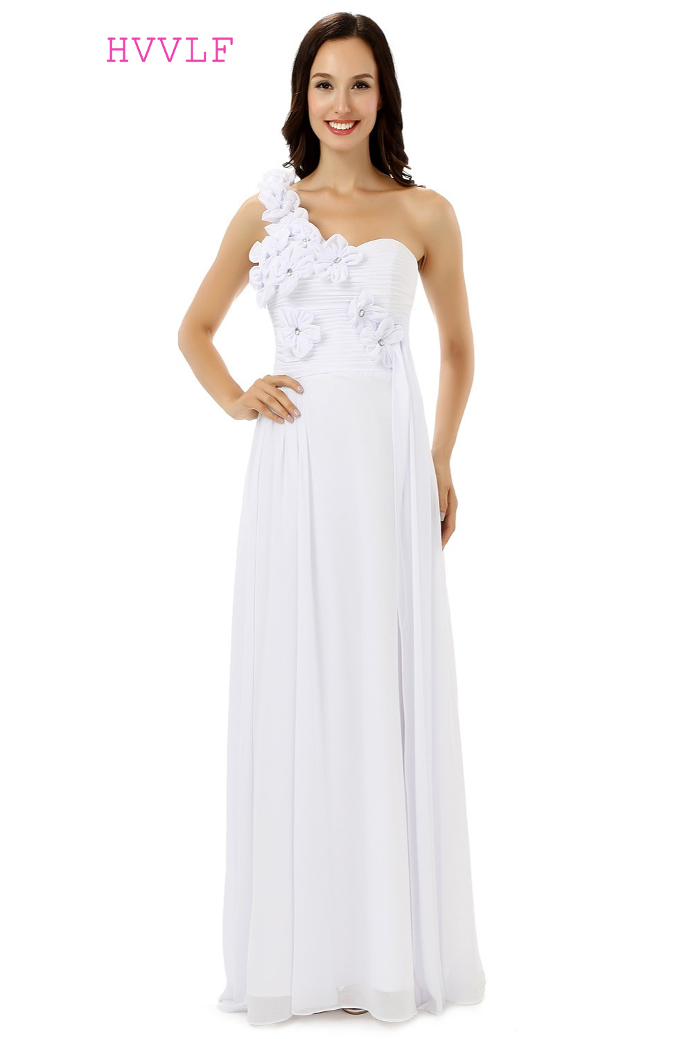 White 2018 Cheap Bridesmaid Dresses Under 50 A-line One-shoulder Floor Length Chiffon Fl ...