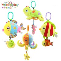 HAPPY MONKEY Baby Toys Rattles Toy Kids Soft Plush toys Baby Crib Bed Hanging Bells Toys for Stroller with music