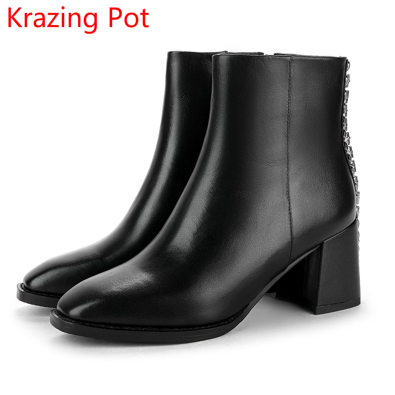 все цены на 2018 New Arrival Genuine Leather Zipper Winter Boots High Heels Rivets Crystal Elegant Fashion Concise Ankle Boots for Women L09