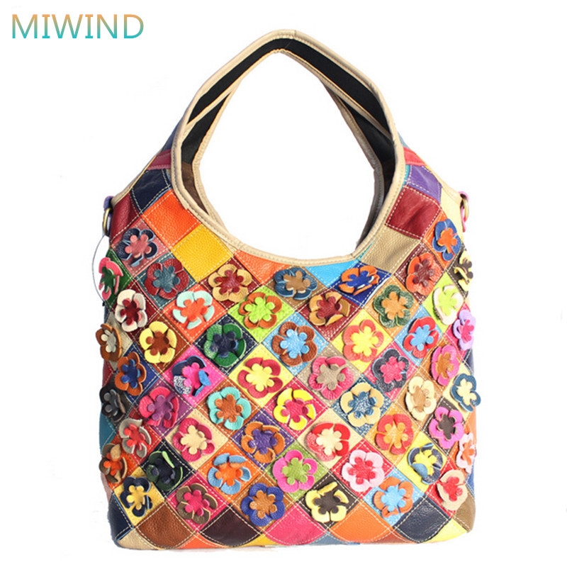 European Style Women Bag 2017 Colorful Genuine Leather Shoulder Bag Fashion Patchwork Flower Women Handbag Casual Tote GB083