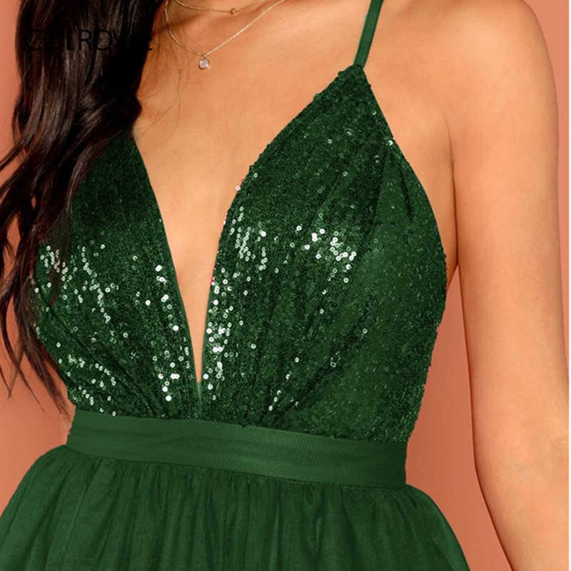 COLROVIE зеленый сплошной молния сетки Холтер блесток платье для вечеринок для женщин 2019 без рукавов Высокая талия мини клуб дамы пикантны