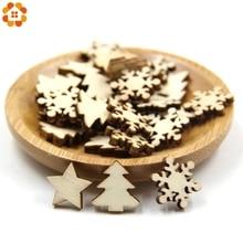 50PCS Natural Wooden DIY Christmas Tree Hanging Ornaments Pendant Gifts Snow Flakes Star Shape Xmas Decorations