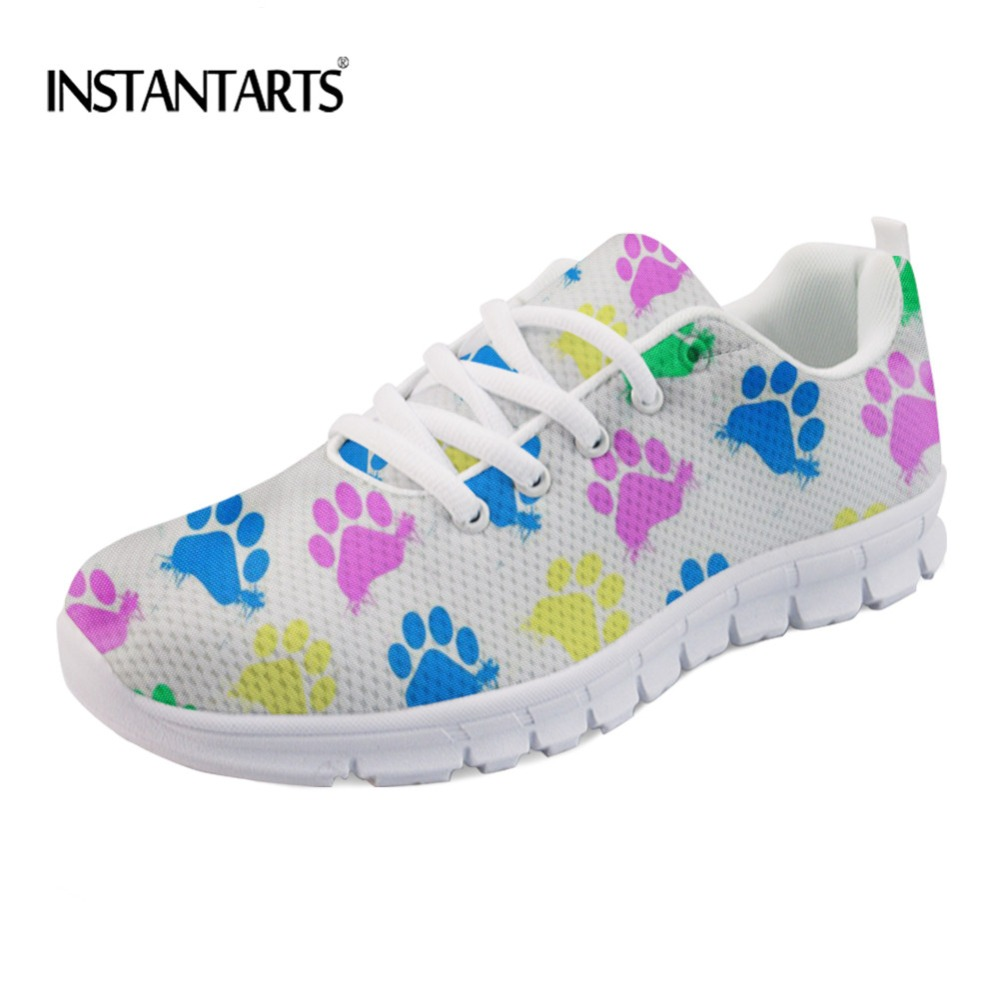 INSTANTARTS Lovely Cat Paw Pattern Women's Flats Sneakers Casual Ladies Shoes Comfort Girls Fashion Round Toe Shoes Light Mesh