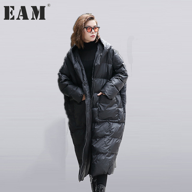 [EAM] 2017 nieuwe herfst winter hooded lange mouwen effen kleur zwart katoen gevoerde losse big size jacke vrouwen mode tij JD12101