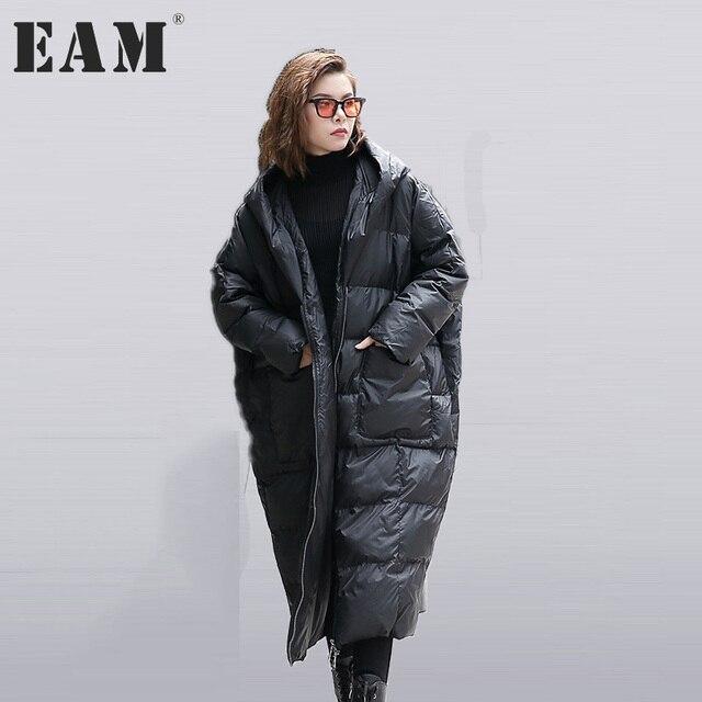 [EAM] 2017 yeni sonbahar kış kapüşonlu uzun kollu katı renk siyah pamuk-yastıklı gevşek büyük boy jacke kadın moda gelgit JD12101