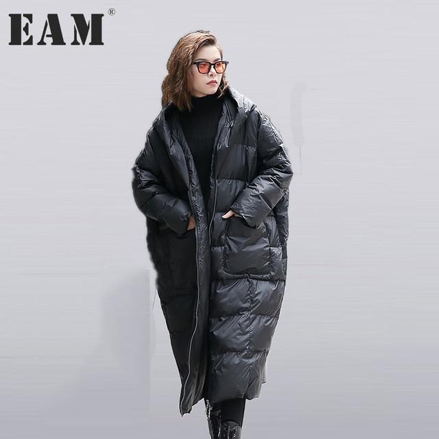 [Eam] 2017 جديد الخريف الشتاء مقنع طويلة الأكمام بلون أسود القطن مبطن سترات فضفاضة كبيرة الحجم النساء أزياء المد JD12101