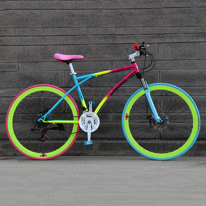 24/26-Inch 21-Speed Road Bicycle 40-Blade Rim Double Disc Brake Solid Tire Shock Absorption Bike Adult Students