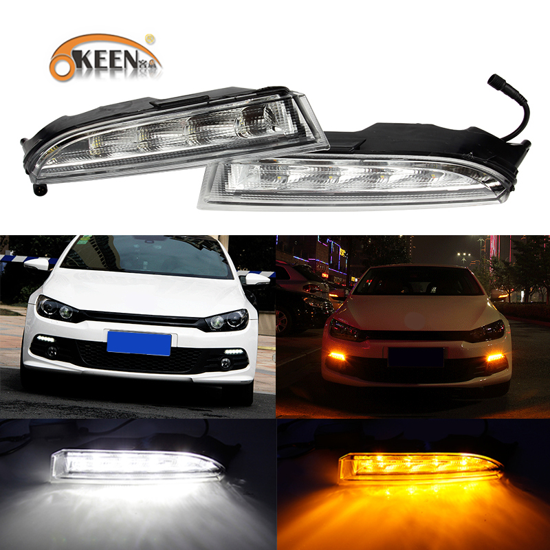 OKEEN 2pcs 12V DRL For Volkswagen VW Scirocco R 2010 2011 2012 2013 2014 LED Daytime Running Light White Turn Signal Light Amber okeen 2pcs high quality led drl for ford raptor f150 2010 2011 2012 2013 2014 daytime running lights with turn signal lamp 12v
