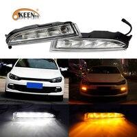 OKEEN 2pcs 12V DRL For Volkswagen VW Scirocco R 2010 2011 2012 2013 2014 LED Daytime Running Light White Turn Signal Light Amber