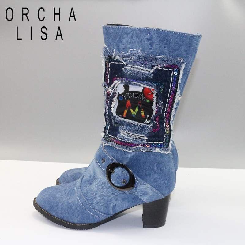 480fdee19ce ORCHA LISA Jean Boots Women mid calf Boots chunky heel Zipper warm fur  Denim Boots women