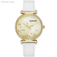 Taylor Cole Cool Style Women Watch Golden Clock Luxury Ladies Watches White Genuine Leather Band Wrist Watches for Women / TC142