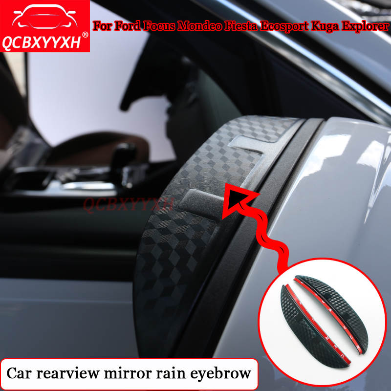QCBXYYXH Car Styling Carbon rearview <font><b>mirror</b></font> rain eyebrow <font><b>For</b></font> <font><b>Ford</b></font> Focus Mondeo Fiesta Ecosport Kuga <font><b>Explorer</b></font> Auto <font><b>Accessories</b></font> image