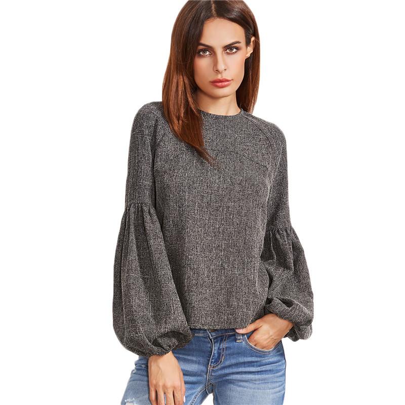 HTB1p2 pOVXXXXarXpXXq6xXFXXXv - Women Shirt Ladies Grey Lantern Long Sleeve Blouse