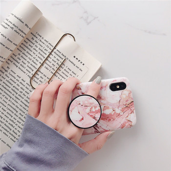 Marble Flexible Stand Holder Case For iPhone XS XS Max X 8 7 6S Plus For Huawei P20 For Samsung S10 Soft IMD Phone Cover 5
