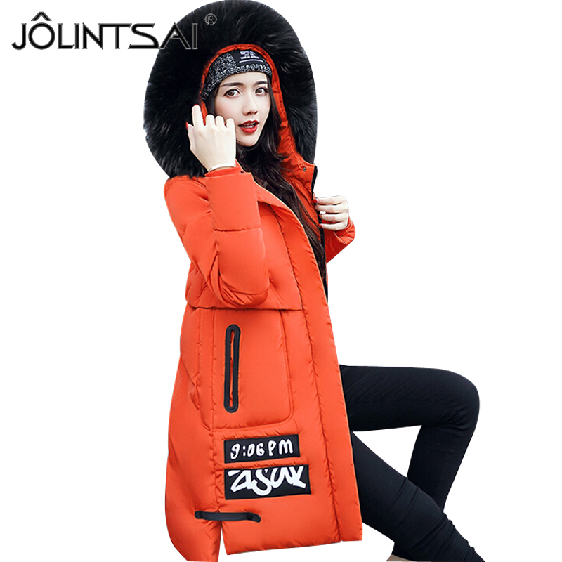 New Winter Jacket Women Cotton Padded Hooded Warm Letter Printed Parkas Medium Long Slim Wadded Coat Woman Overcoat new wadded winter jacket women cotton long coat with hood pompom ball fashion padded warm hooded parkas casual ladies overcoat