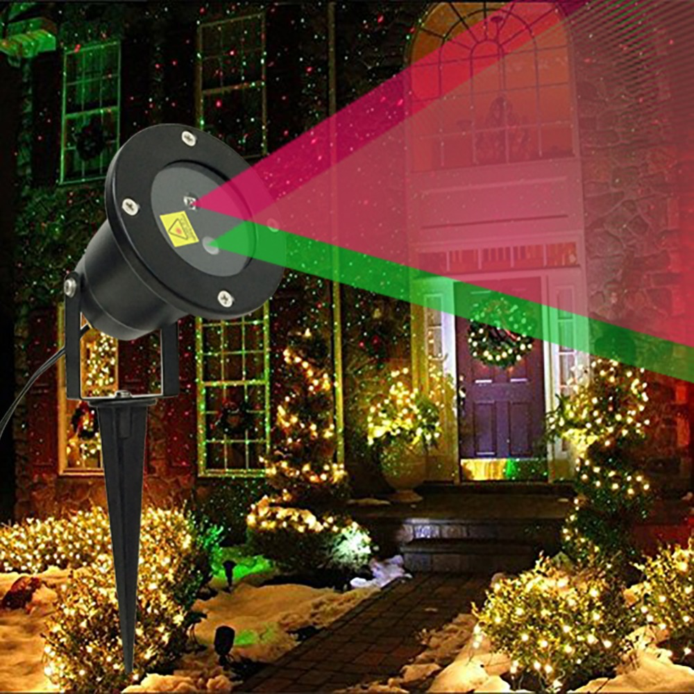 ФОТО Lumiparty Christmas Laser Lights Outdoor Star Projector Showers Home Decorations Double Color Static Twinkle