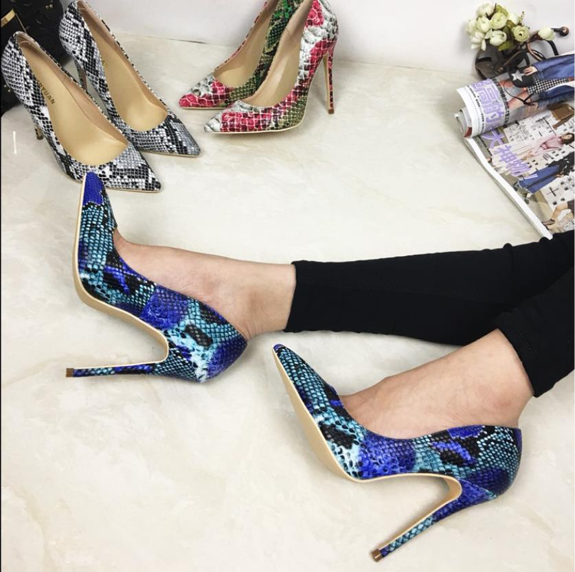 Fashion new snakeskin tip super high heels female fine heels 12cm 10cm8cm shallow mouth sexy night wedding single shoe springFashion new snakeskin tip super high heels female fine heels 12cm 10cm8cm shallow mouth sexy night wedding single shoe spring