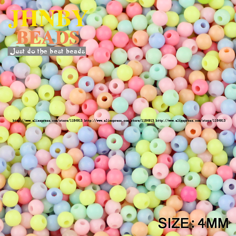 Fine Jhnby Cream Beads High Quality Acrylic Beads 1000pcs 4mm Round Candy Neon Smooth Loose Beads Ball Jewelry Bracelet Making Diy Ample Supply And Prompt Delivery Beads Jewelry & Accessories