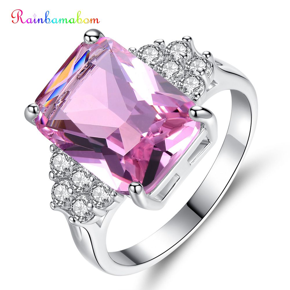 Rainbamabom Trendy 925 Solid Sterling Silver Pink Sapphire Gemstone Wedding Engagement Ring Fine Jewelry Wholesale Drop Shipping
