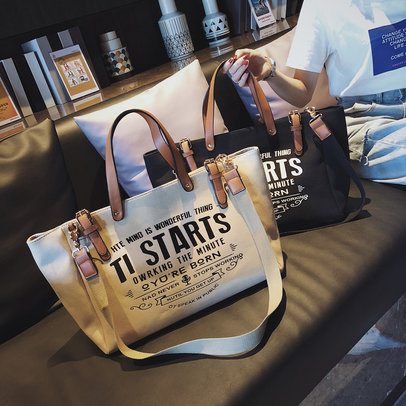 Luxury Ladies Bags Canvas Fashion Large Capacity Tote Bags Letter Shoulder Messenger Bags for Women 2018 Casual Tote Luis Vuiton 1