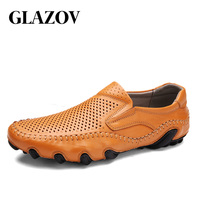GLAZOV Brand Genuine Leather Hollow Out Men Casual Shoes Cool Size 38 44 Slip On Loafers Men Sewing Breathable Driving Shoes