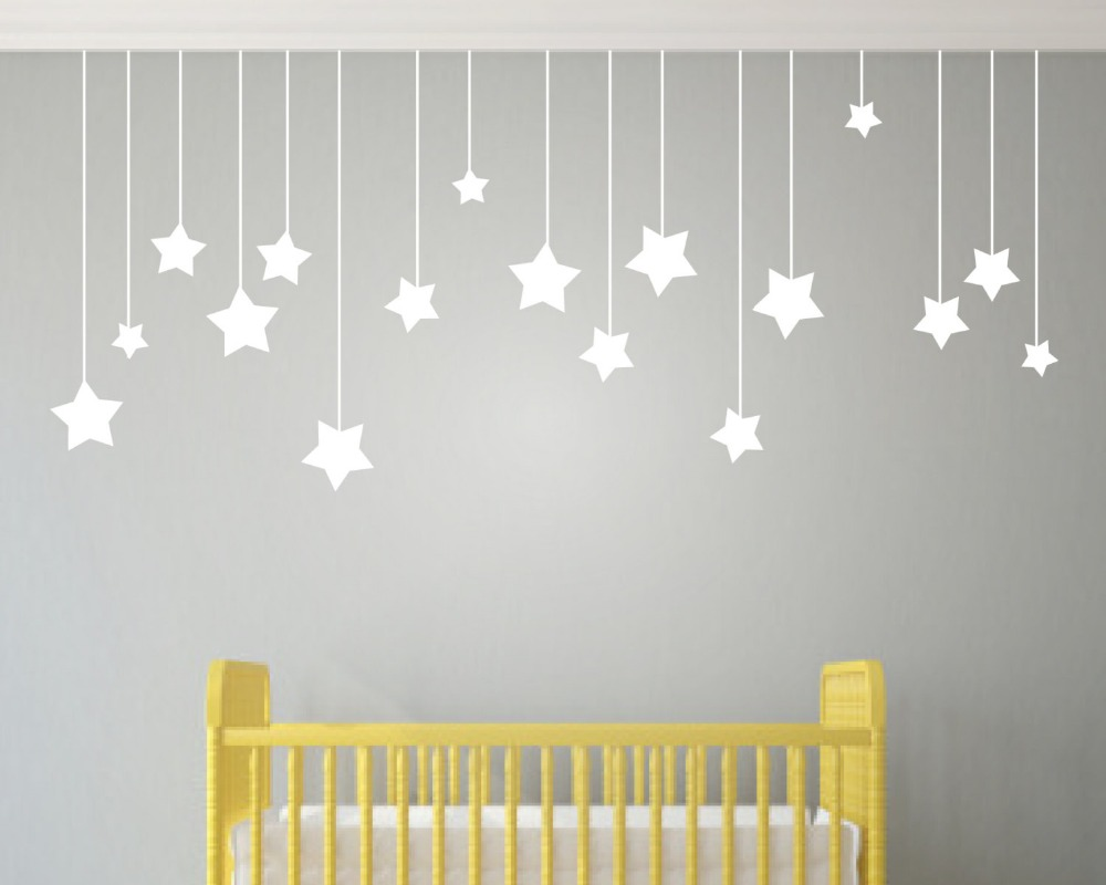 17pcs Hanging Stars Wall Stickers For Kids Room White Star
