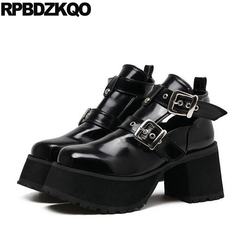 Chunky Metal Autumn Round Toe Ankle Women Platform Booties Gothic Boots Punk Harajuku Shoes Black Patent Leather Elevator Belts fall flat black waterproof 2017 women shoes retro front lace up casual ankle boots autumn patent leather chunky booties vintage
