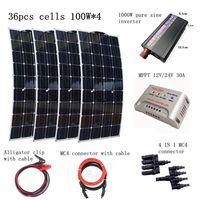 4pcs Mono 100W Solar Panels Kit with 1000W pure Sine Wave inverter 30A controller Emergency Houseuse 400W Solar Power System