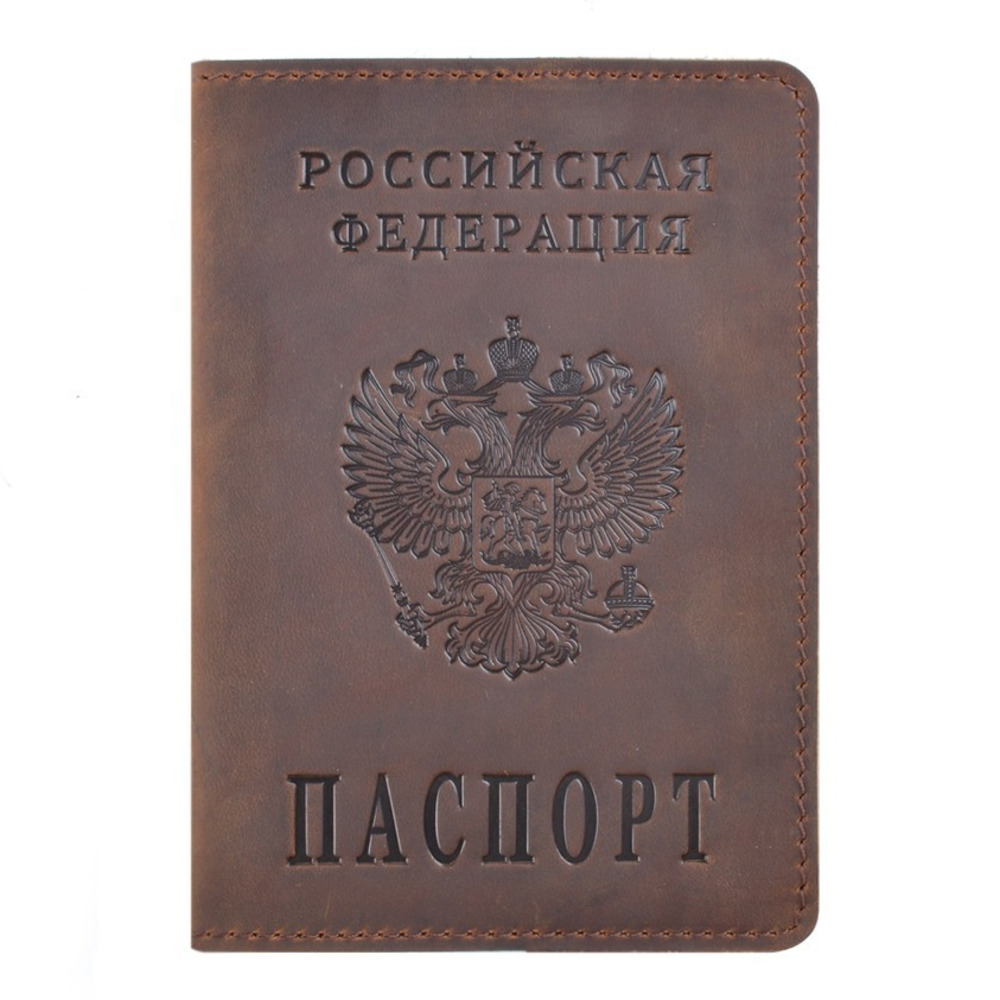 Genuine Leather Passport Cover Designed for Russian Federation Crazy Horse Leather Card Holder Business Travel Passport Case
