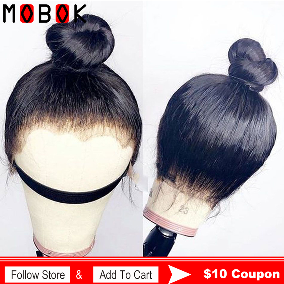 Mobok 360 Lace Frontal Wig Pre Plucked With Baby Hair Remy 360 Lace Frontal Human Hair Wig Brazilian Straight Hair Bob Bang Wig(China)