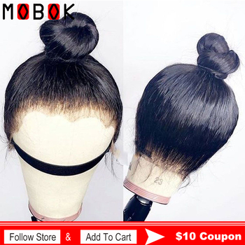 Mobok 360 Lace Frontal Wig Pre Plucked With Baby Hair Remy 360 Lace Frontal Human Hair Wig Brazilian Straight Hair Bob Bang Wig