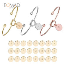 Rose Gold Bracelets for Women 26 Initial Letter Pendant Bangles Heart Tie Knot Opening Cuffs Love Bangle Jewelry pulseiras Z35