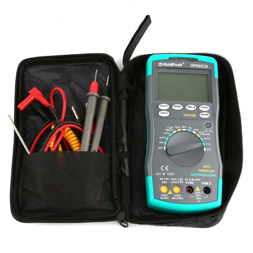 HoldpeakHP890CN Stable LCD Digital Multimeter DC AC Voltage Current HP-890CN Temperature Meaurement Auto Range Multimeter wozniak best v96e lcd digital automatic speech broadcast auto range digital multimeter full protection ac dc