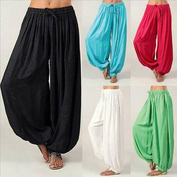 Damska dama Hippie Aladdin śmieszne spodnie Gypsy spodnie haremowe elastyczne workowate spodnie haremki tanie i dobre opinie WOMEN Poliester Pełnej długości Na co dzień Luźne Suknem Sznurek Łuk Stałe Wysoka Mieszkanie Harem spodnie Pants Capris