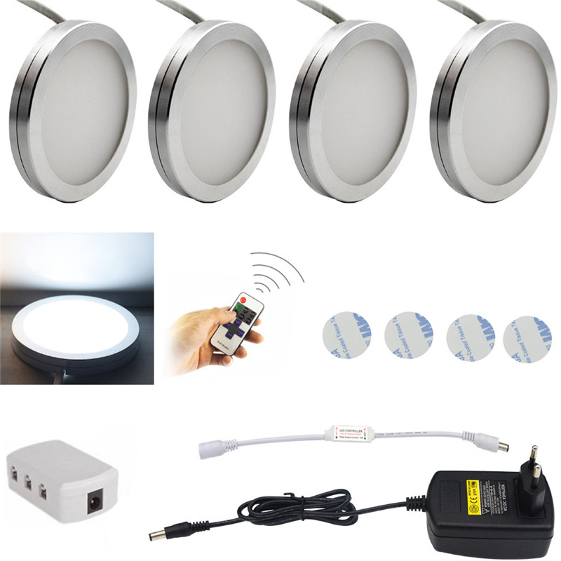 3/4/6 PCS LED Under Cabinet Light 12 LEDs Remote Control Dimmable Kitchen Lights Closet Wardrobe Stairs Hallway Lighting