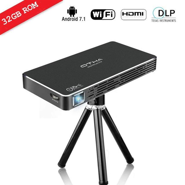 Big Promo OTHA Mini Projector Portable Videoprojector Full HD Android 7.1 Home Cinema 100 ANSI Lumens 32GB Memory HDMI Input to Laptop/PC