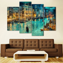Van Gogh Oil Painting Landscape Apricot Canvas Paintings Poster Wall Print 4 Panel Home Decorations Living Room Abstract
