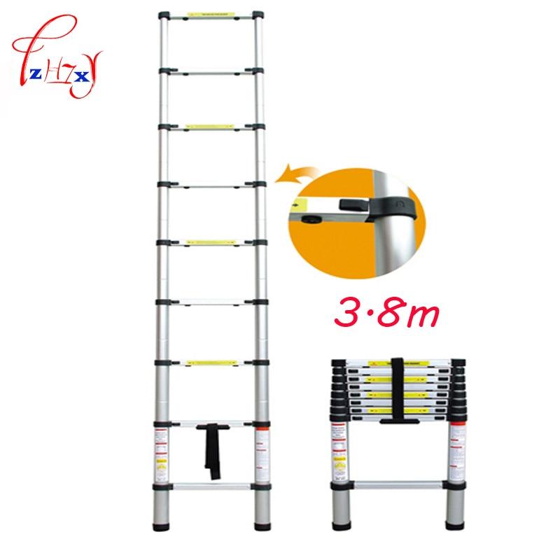 1 PCS 3.8m Household Extension Telescopic Ladder Multipurpose Retractable Aluminum Alloy Straight Ladder Adjustable Ladder