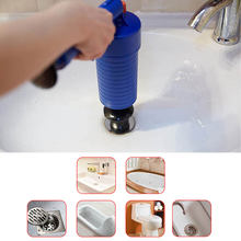 toilet plunger pipe suction cup Toilets Bathroom Kitchen Pipe Clog Remove Air Drain Pump Cleaner Kit with 4 adapters(China)