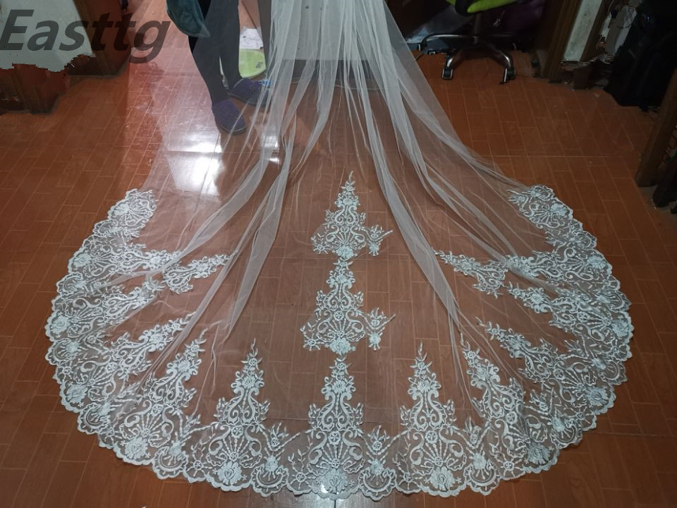 Real Photos White Ivory 4 Meters One Layer Lace Wedding Veil  luxurious Cathedral Long Bridal Veil with Comb wedding Accessories