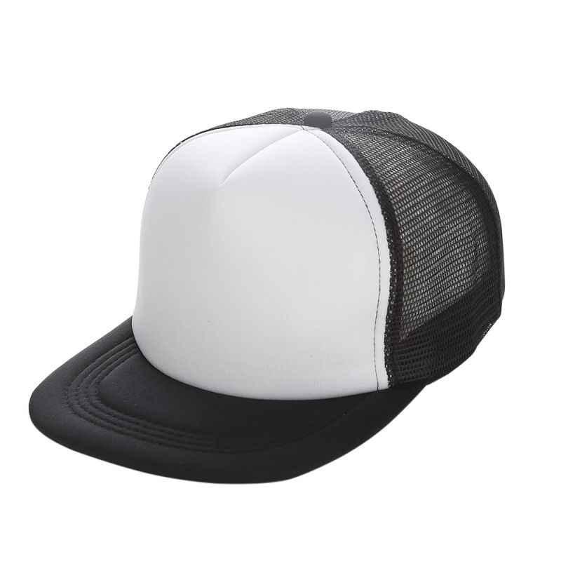 6bf7c1e50e0a32 Flat Brim Blank Plain Baseball Cap Hip Hop Women Men Mesh Snapback  Strapback Trucker Hat Bone