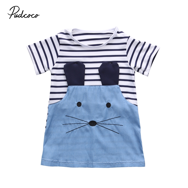 2017 hot selling !Cute Baby Kids Girls cotton Summer striped Short sleeve o-neck minie Mouse Cartoon Dress Clothes 2-7Y gil morales short selling with the o neil disciples