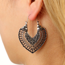 Tocona Vintage Boho Heart Hollow Mandala Flowe Dangle Drop Earrings For Women Ethnic Gold Silver Color Party Jewelry Gift 5036