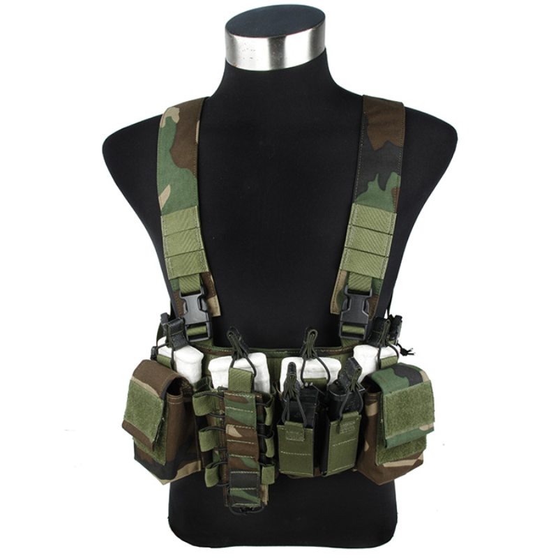 2016 Woodland D3-CR 556 Light Tactical Chest Rig Genuine 500D Cordura Chest Carrier WL Tactical Chest Rig Anti-glare Fabric