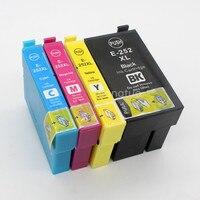 Bilgisayar ve Ofis'ten Mürekkep kartuşları'de 4 paket 252XL T252XL değiştirme yüksek verim mürekkep kartuşları mürekkep WorkForce WF 3620 3640 7110 7610 7620 yazıcı