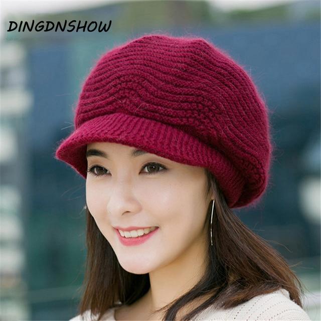 DINGDNSHOW  Brand Beanies Hat Winter Hats For Women Knitted Hat Ladies  2018 Skullies Caps Bonnet Femme Cotton Warm Hat 1caa1c50d11e